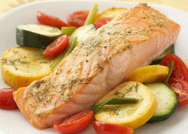 Salmon Fillet with Vegetable Medley